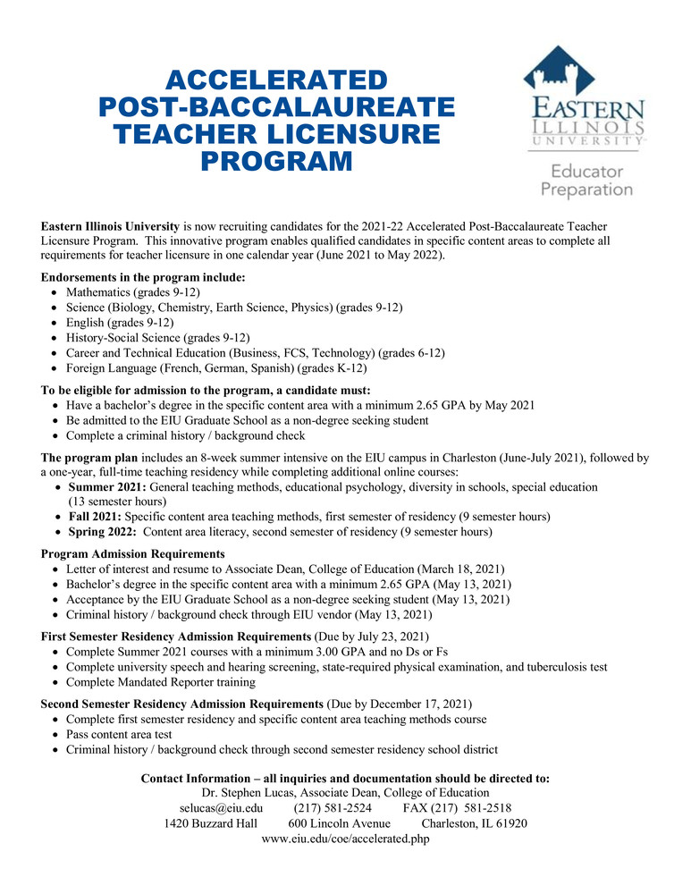EIU Accelerated Teacher Licensure Program