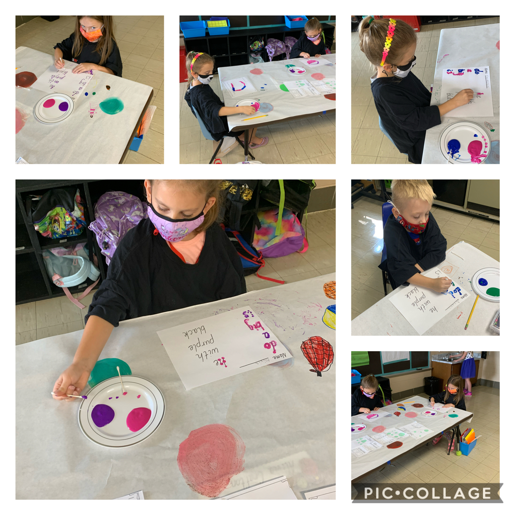 Making sight words using small dots.